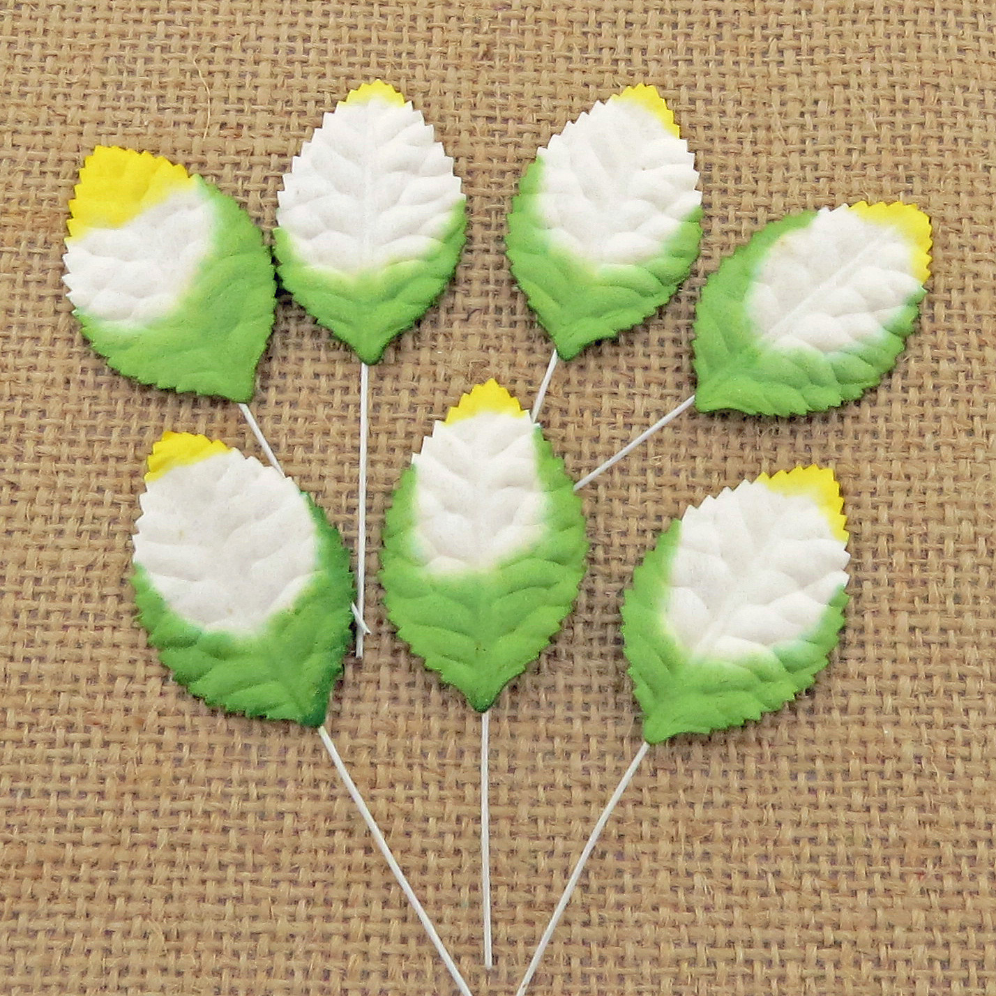 100 2-tone green/white/yellow Mulberry Paper Leaves - 35mm