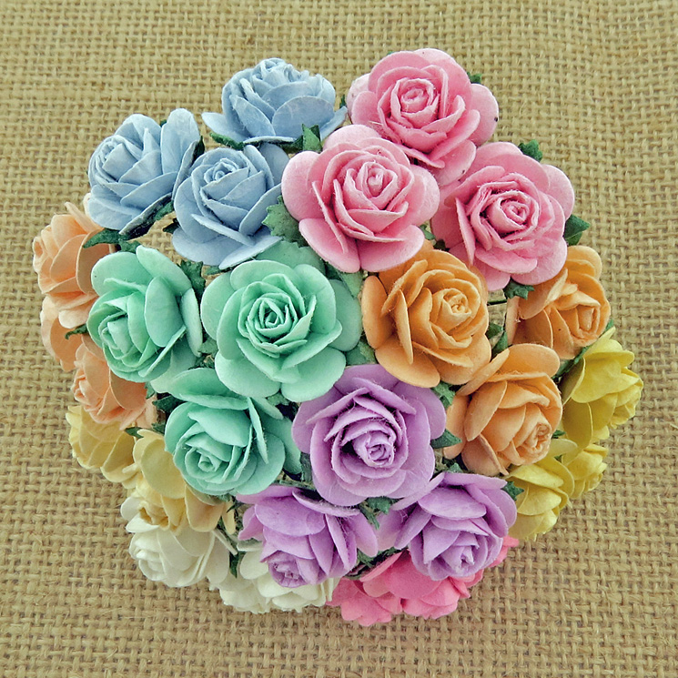 100 MIXED PASTEL COLOUR OPEN ROSES