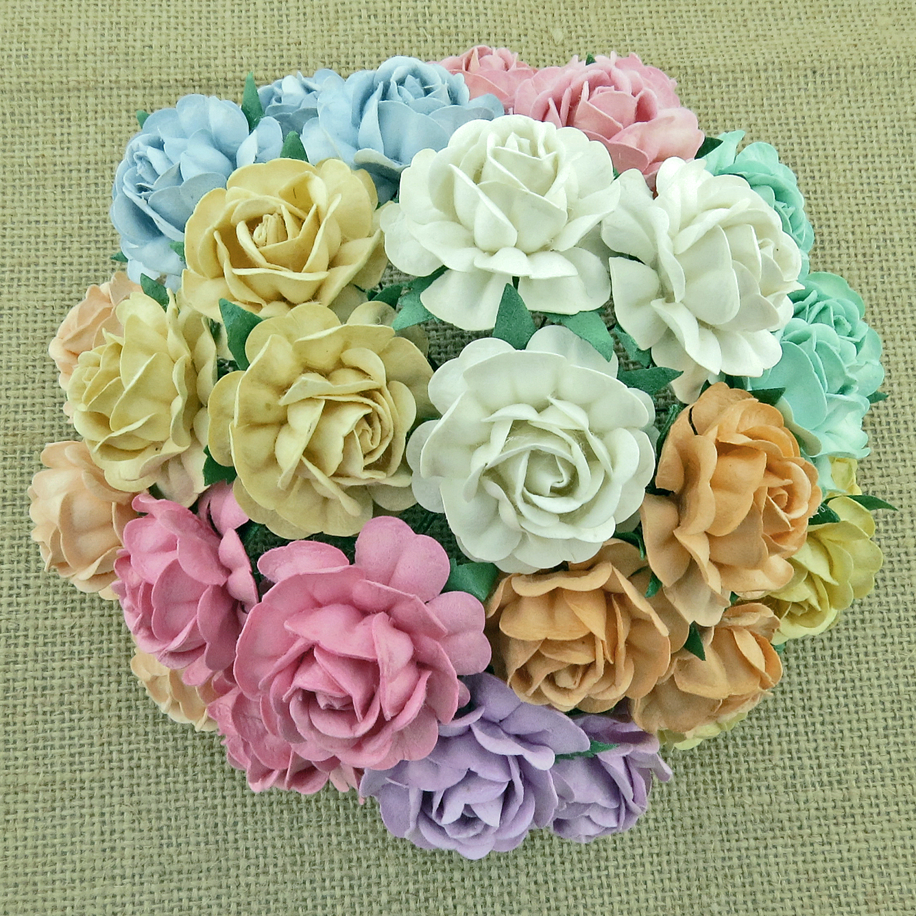 50 MIXED PASTEL MULBERRY PAPER TEA ROSES 40mm