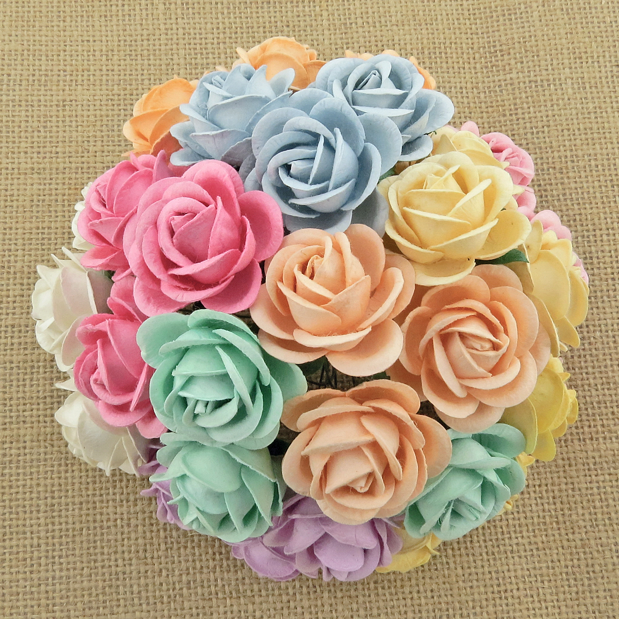 50 MIXED PASTEL MULBERRY PAPER CHELSEA ROSES