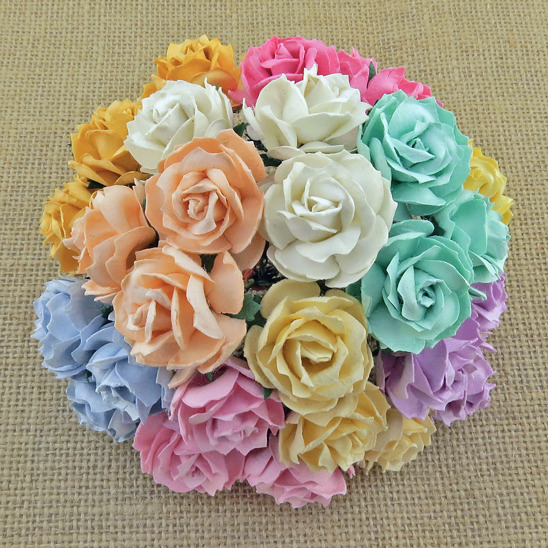 50 MIXED PASTEL COLOUR MULBERRY PAPER WILD ROSES 30mm