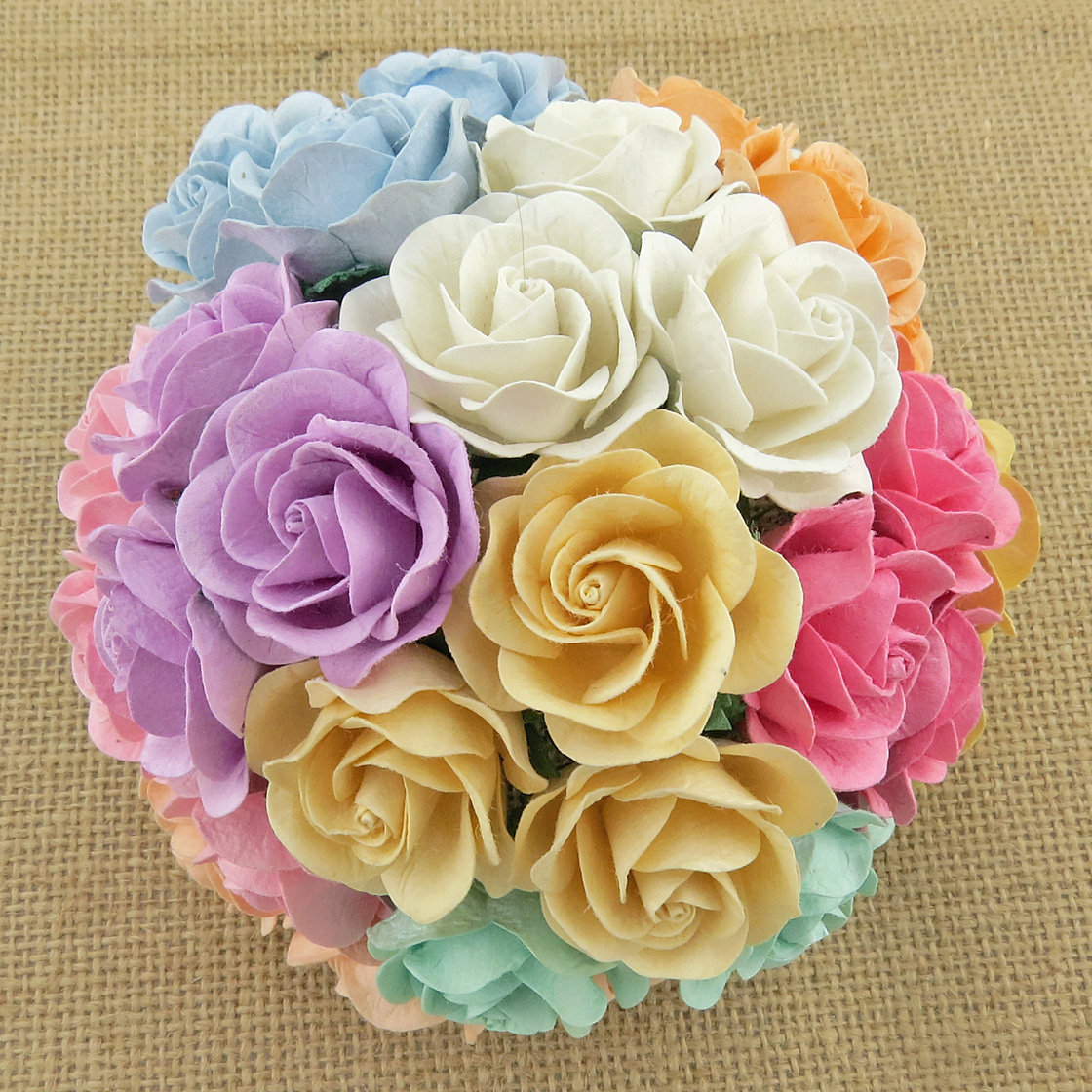 50 MIXED PASTEL MULBERRY PAPER TRELLIS ROSES - 10 COLOR