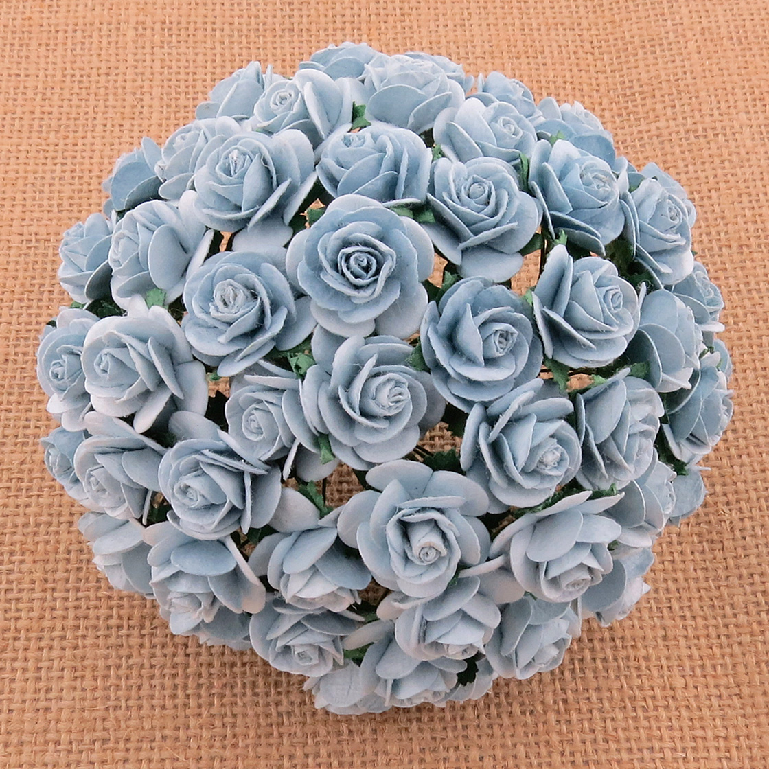 100 BABY BLUE MULBERRY PAPER OPEN ROSES