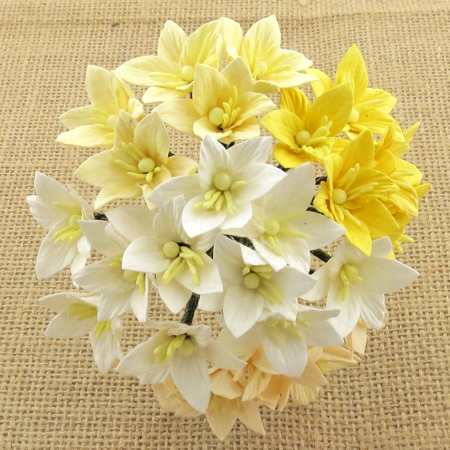 50 MIXED WHITE/CREAM MULBERRY PAPER LILY FLOWERS - 5 COLOR