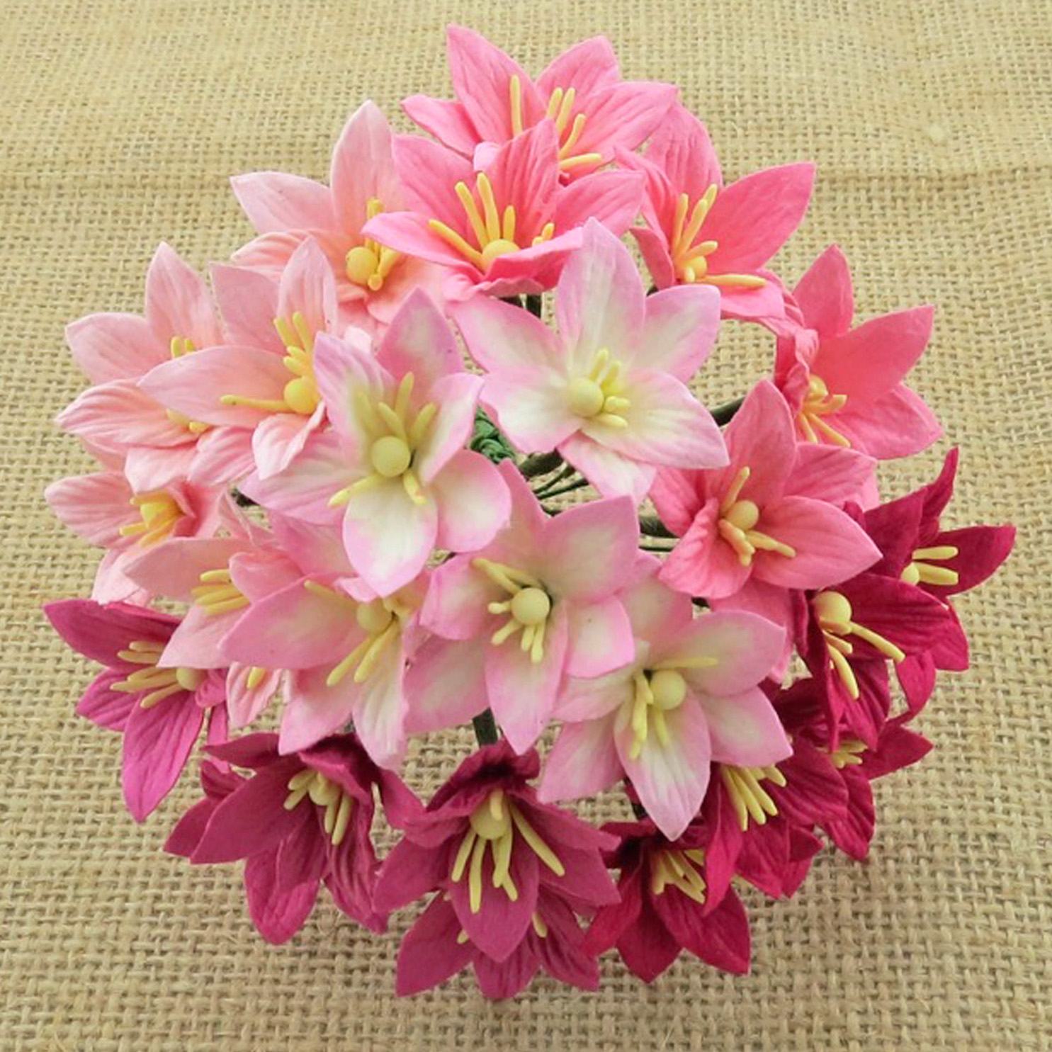 50 MIXED PINK MULBERRY PAPER LILY FLOWERS - 5 COLOR