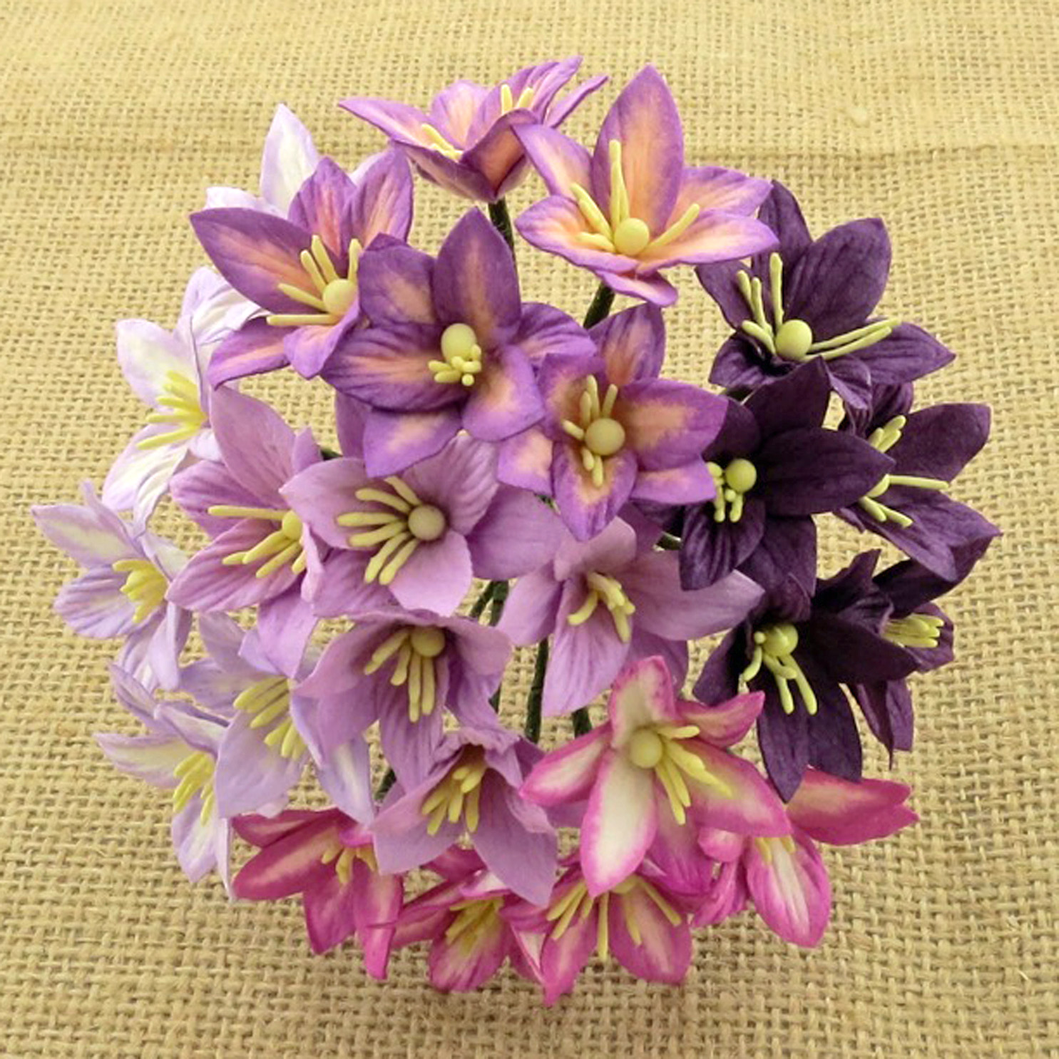 50 MIXED PURPLE/LILAC MULBERRY PAPER LILY FLOWERS - 5 COLOR