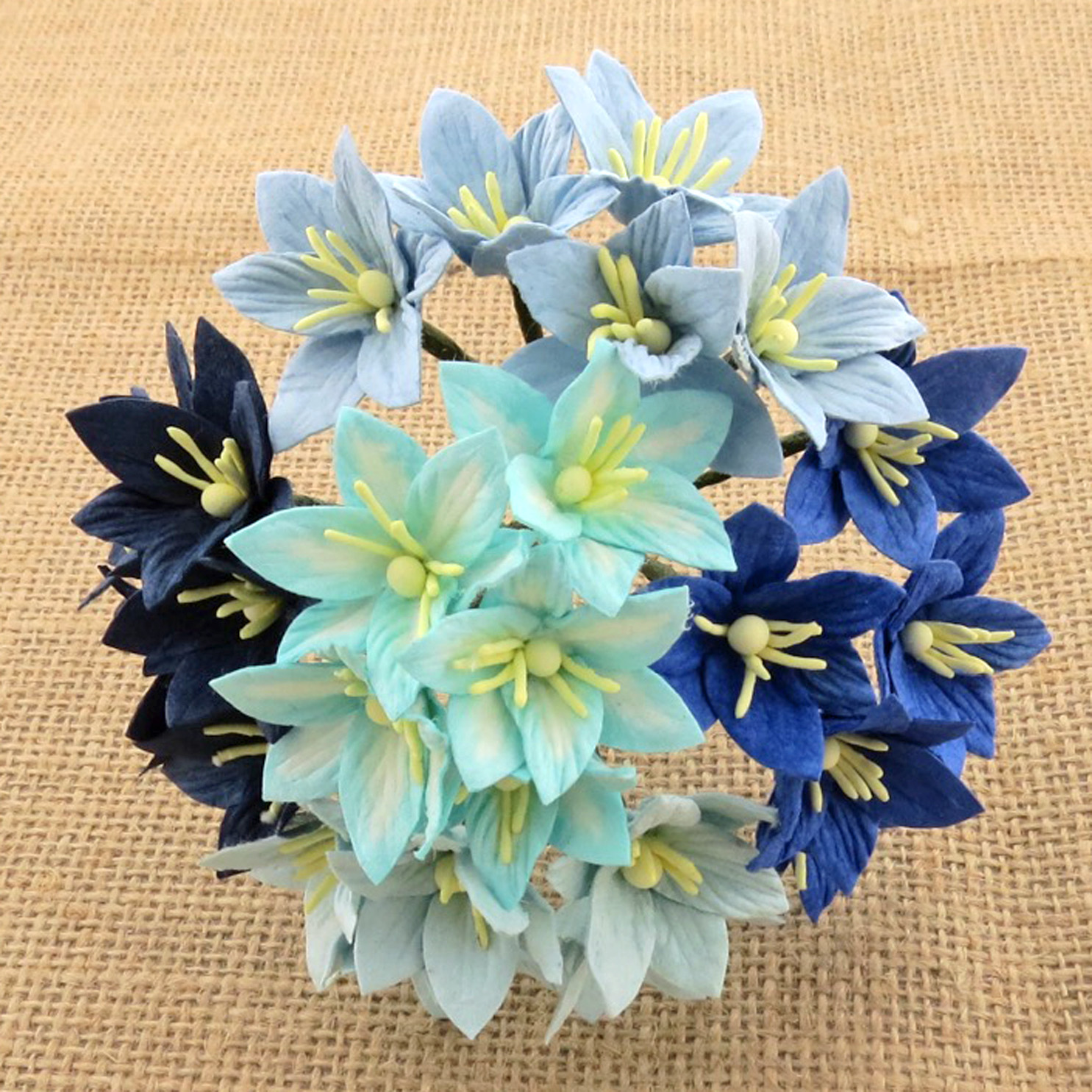 50 MIXED BLUE MULBERRY PAPER LILY FLOWERS - 5 COLOR