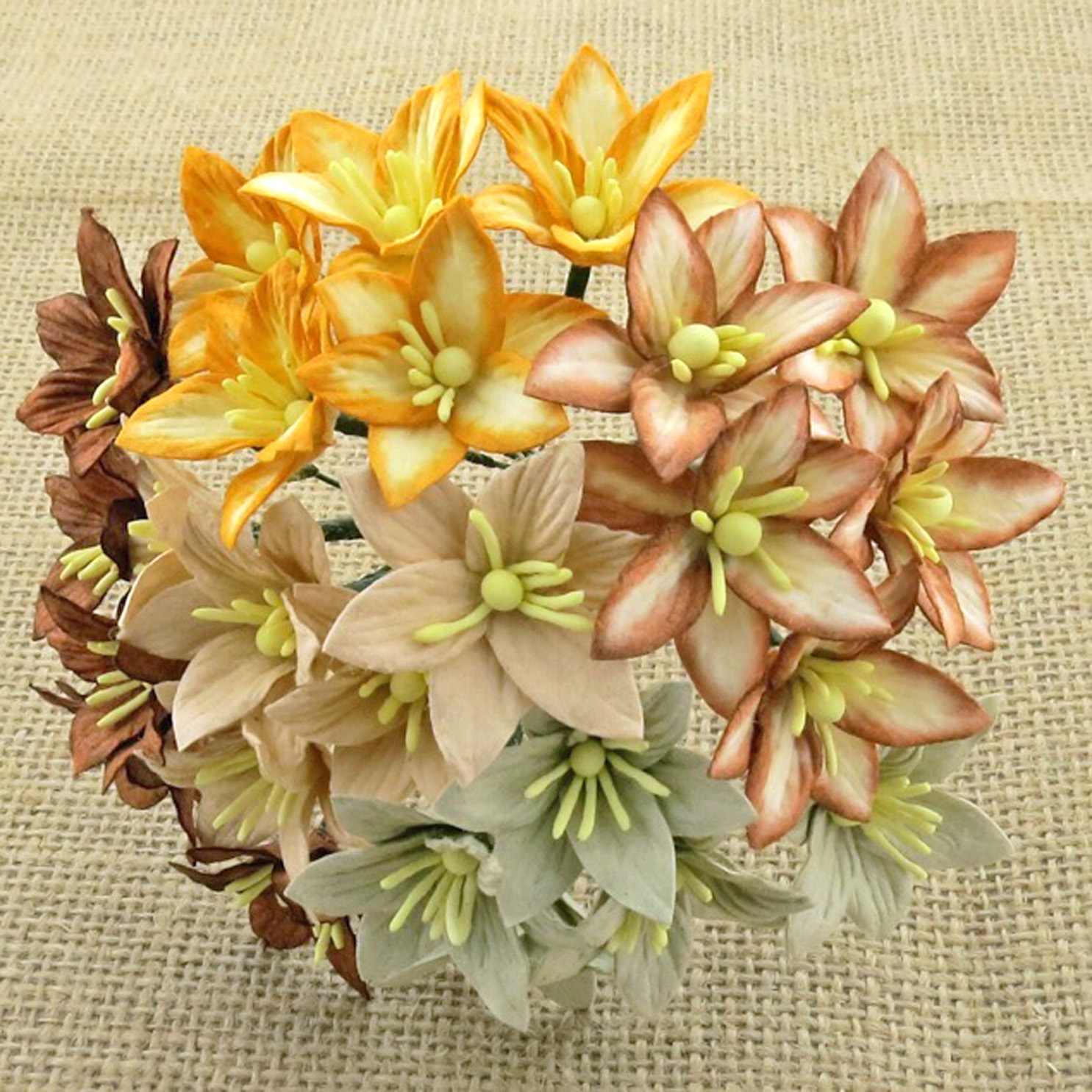 50 MIXED EARTH TONE MULBERRY PAPER LILY FLOWERS - 5 COLOR