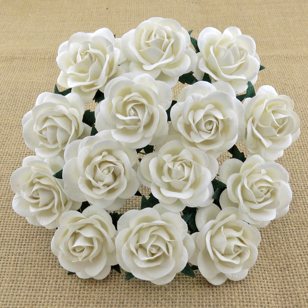 50 WHITE MULBERRY PAPER TRELLIS ROSES