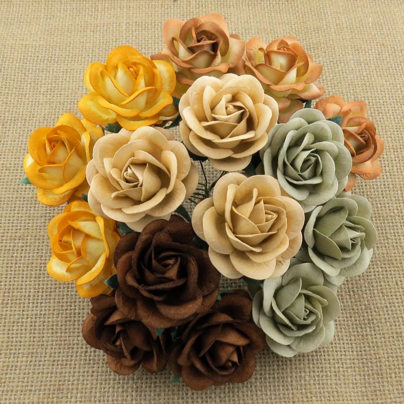 50 MIXED EARTH TONE MULBERRY PAPER TRELLIS ROSES - 5 COLOR
