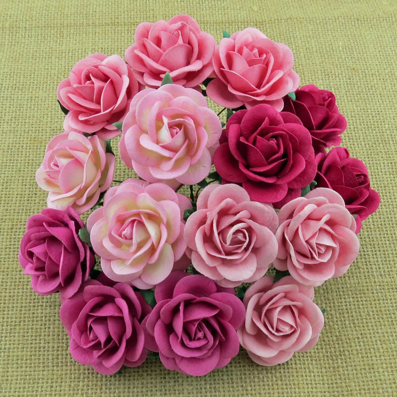 50 MIXED PINK MULBERRY PAPER TRELLIS ROSES - 5 COLOR