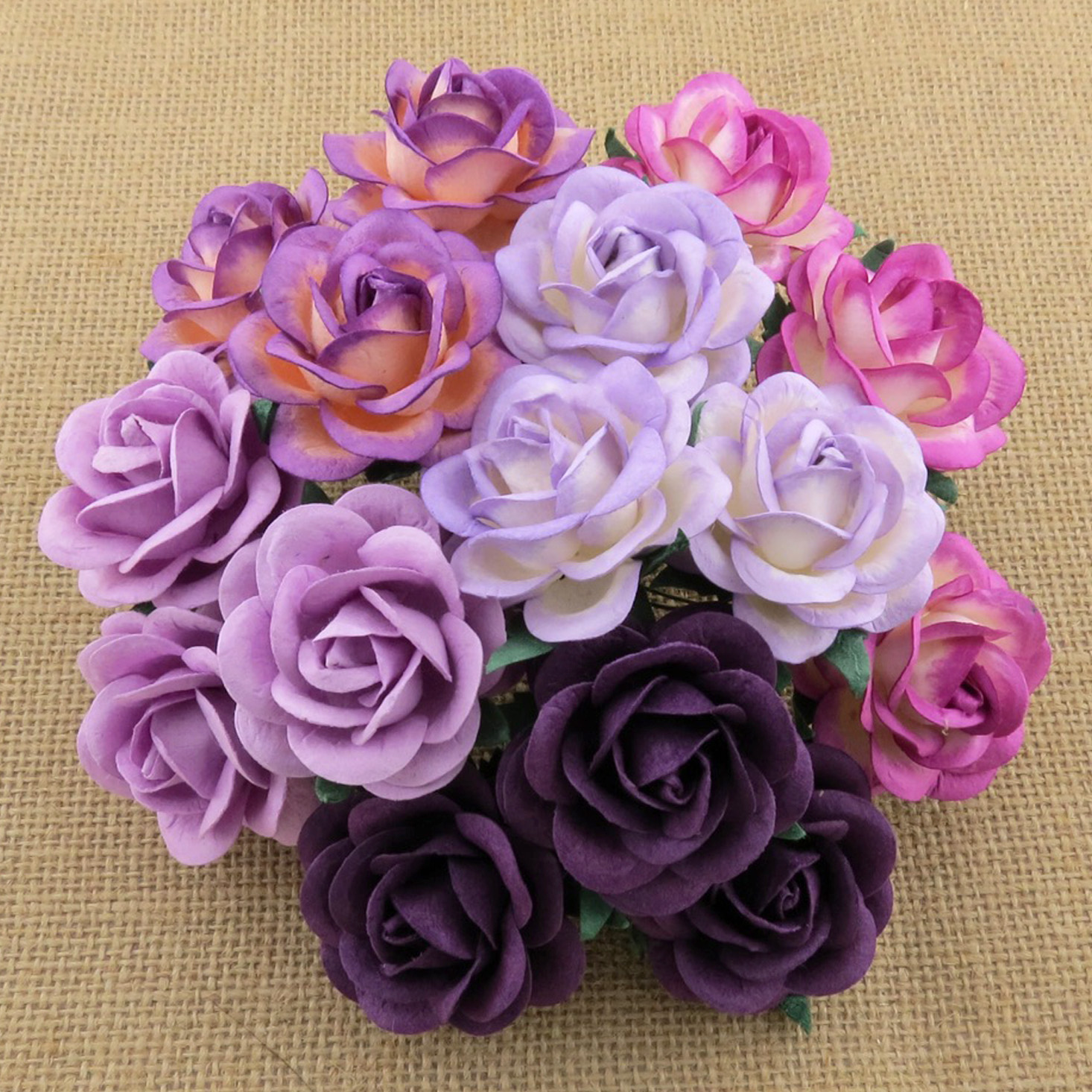 50 MIXED PURPLE/LILAC MULBERRY PAPER TRELLIS ROSES - 5 COLOR