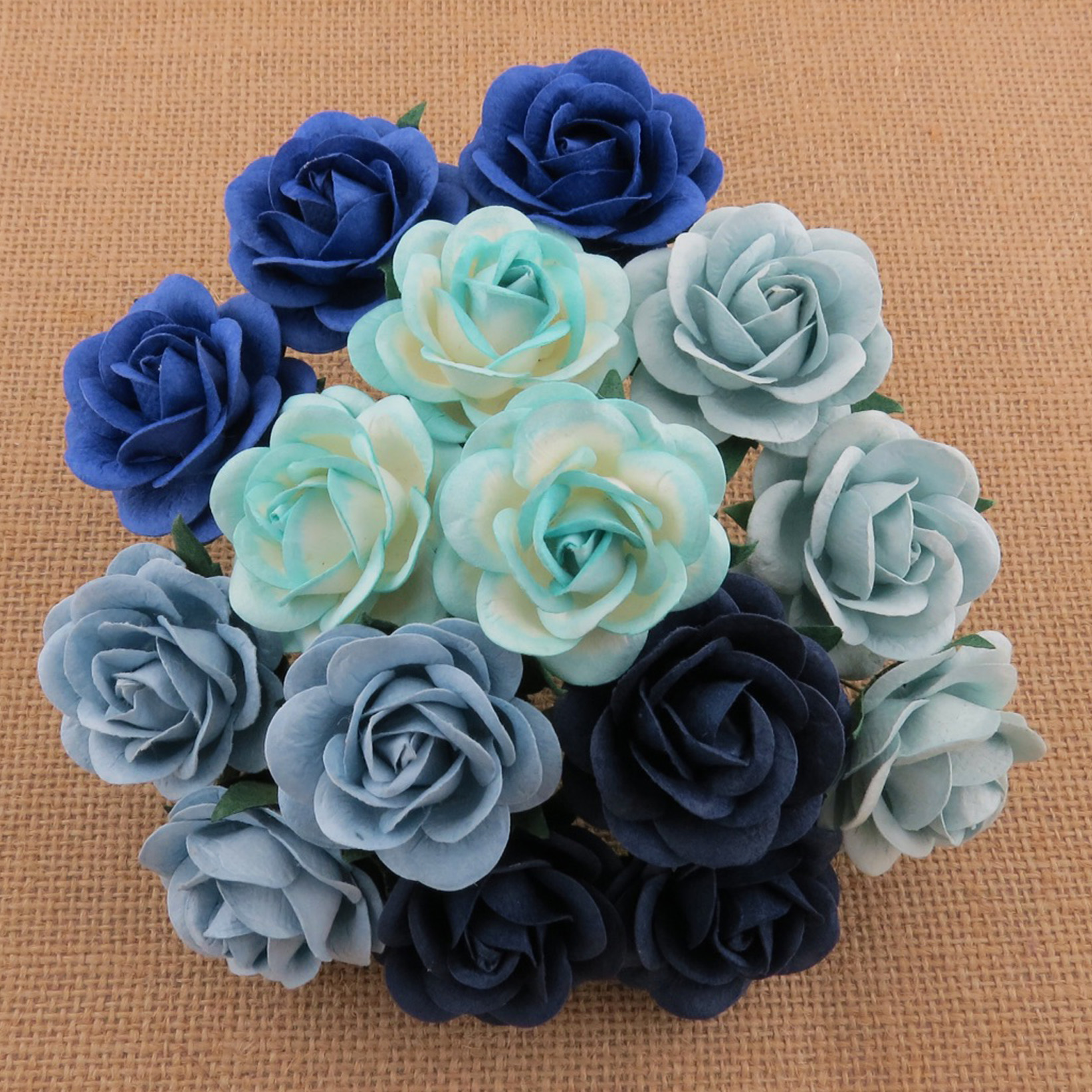 50 MIXED BLUE TONE MULBERRY PAPER TRELLIS ROSES - 5 COLOR