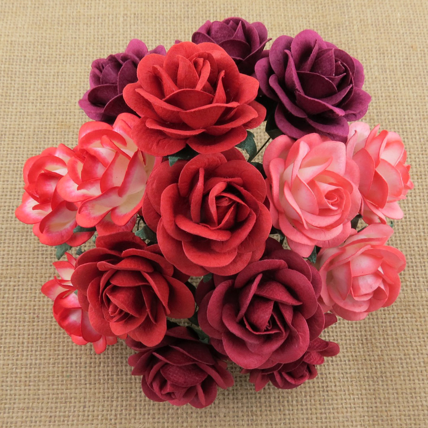 50 MIXED RED TONE MULBERRY PAPER TRELLIS ROSES - 5 COLOR