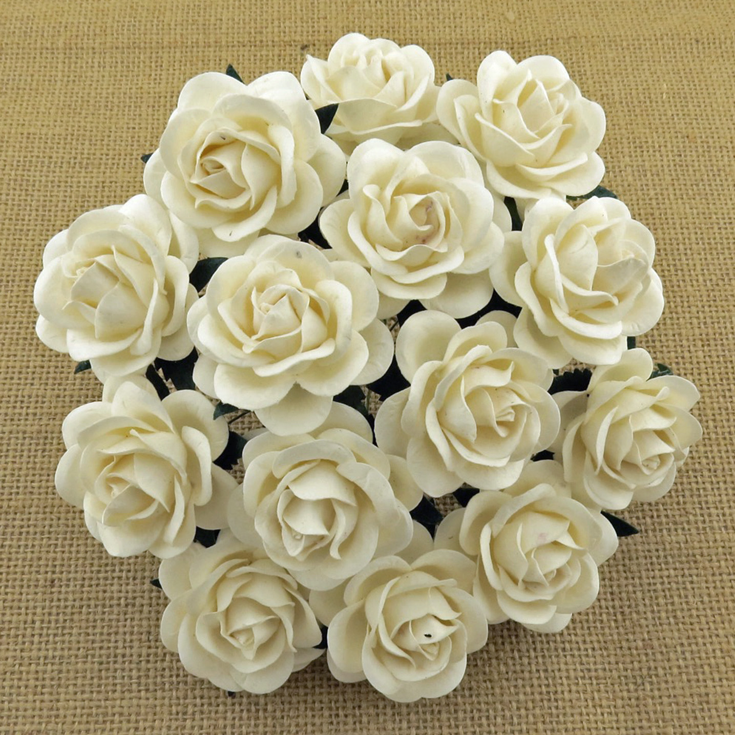 50 IVORY MULBERRY PAPER TRELLIS ROSES