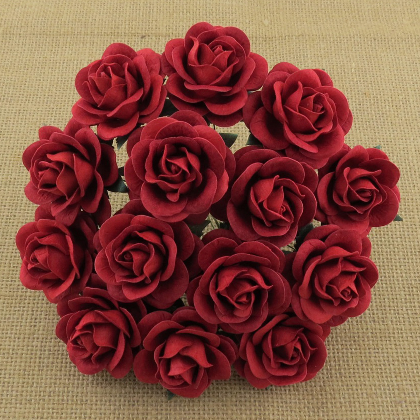 50 RED MULBERRY PAPER TRELLIS ROSES
