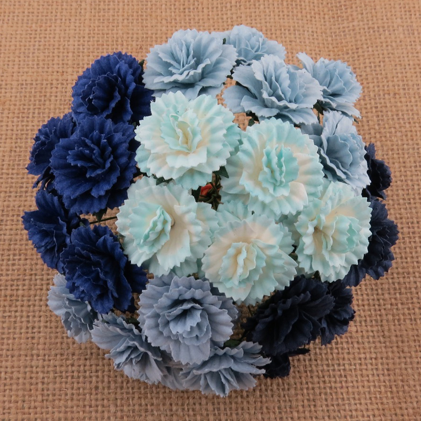 50 MIXED BLUE MULBERRY PAPER CARNATION FLOWERS