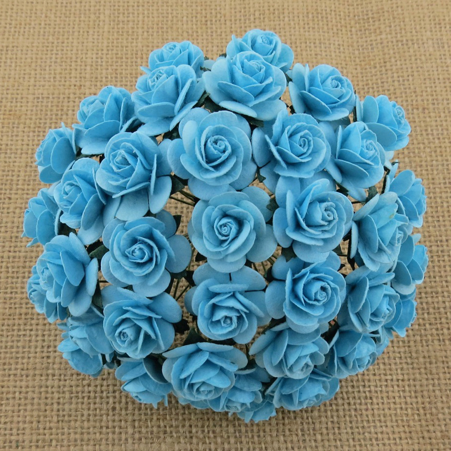 100 LIGHT TURQUOISE MULBERRY PAPER OPEN ROSES