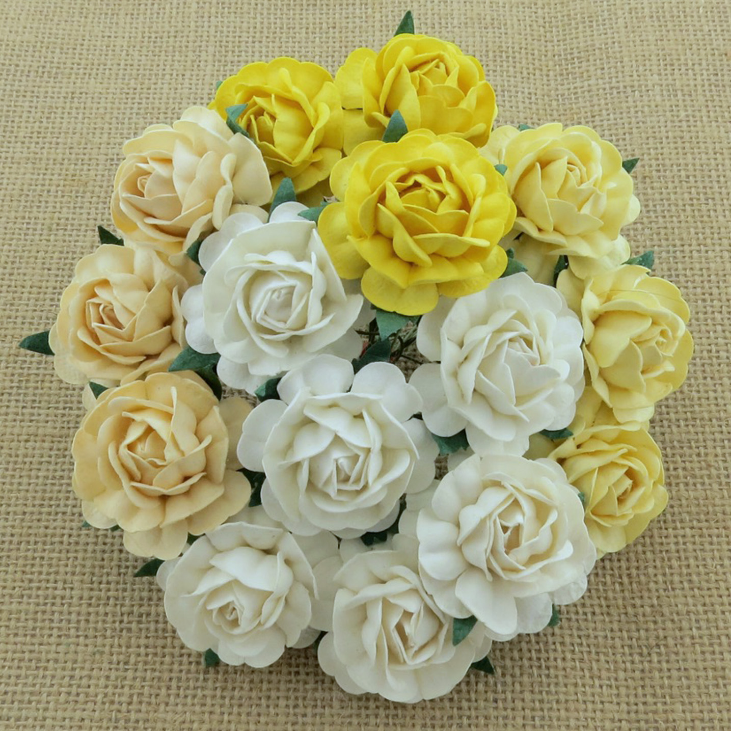 50 MIXED WHITE/CREAM MULBERRY PAPER TEA ROSES 40mm - 5 COLOR