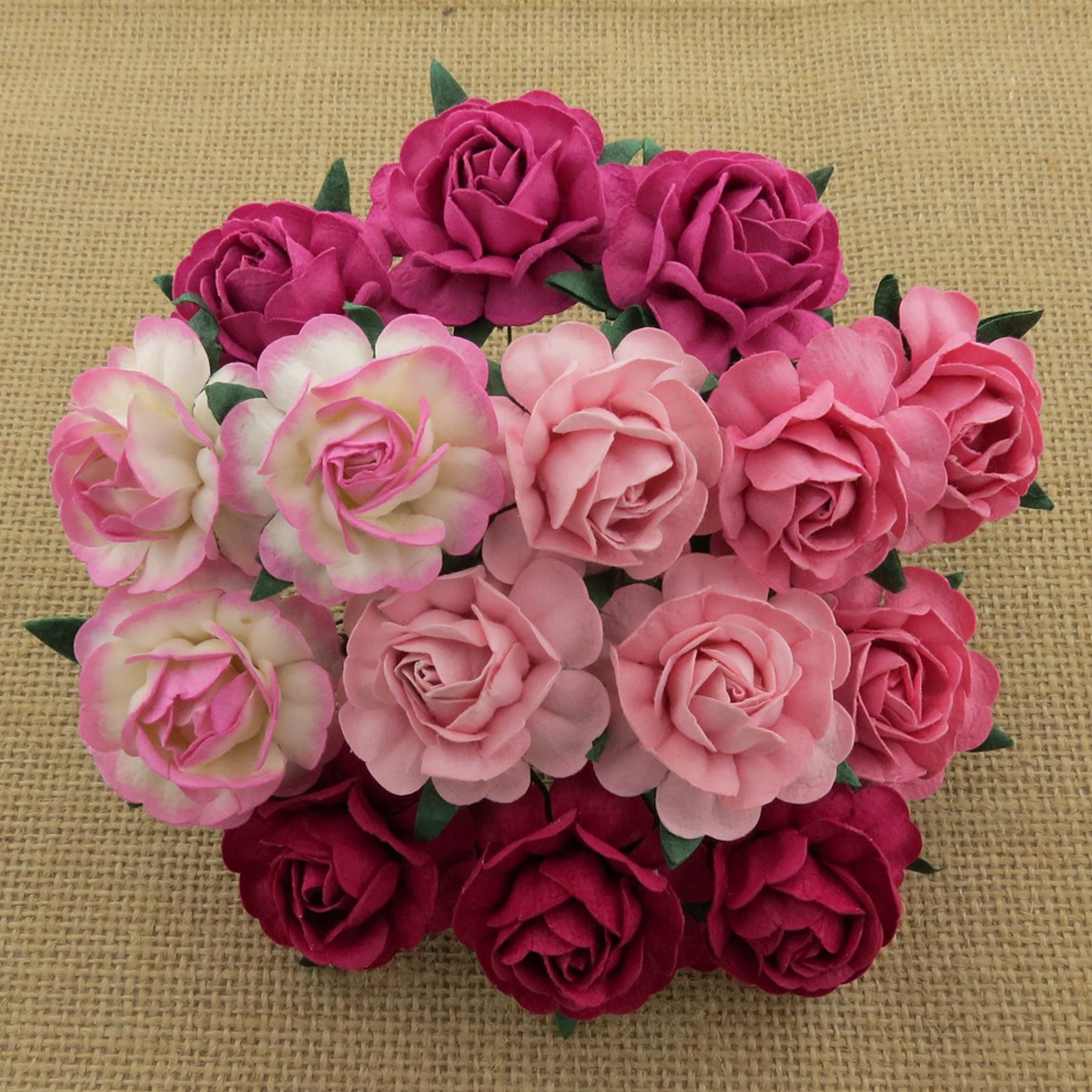50 MIXED PINK MULBERRY PAPER TEA ROSES 40mm - 5 COLOR