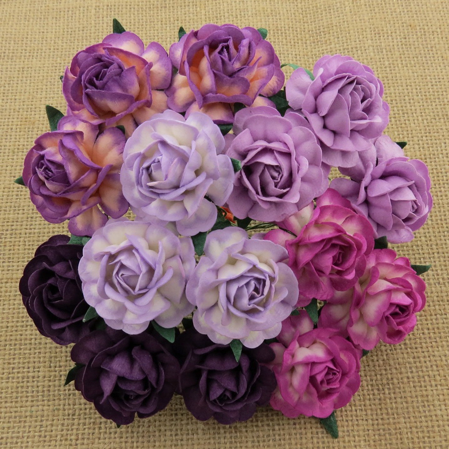 50 MIXED PURPLE/LILAC MULBERRY PAPER TEA ROSES 40mm - 5 COLOR