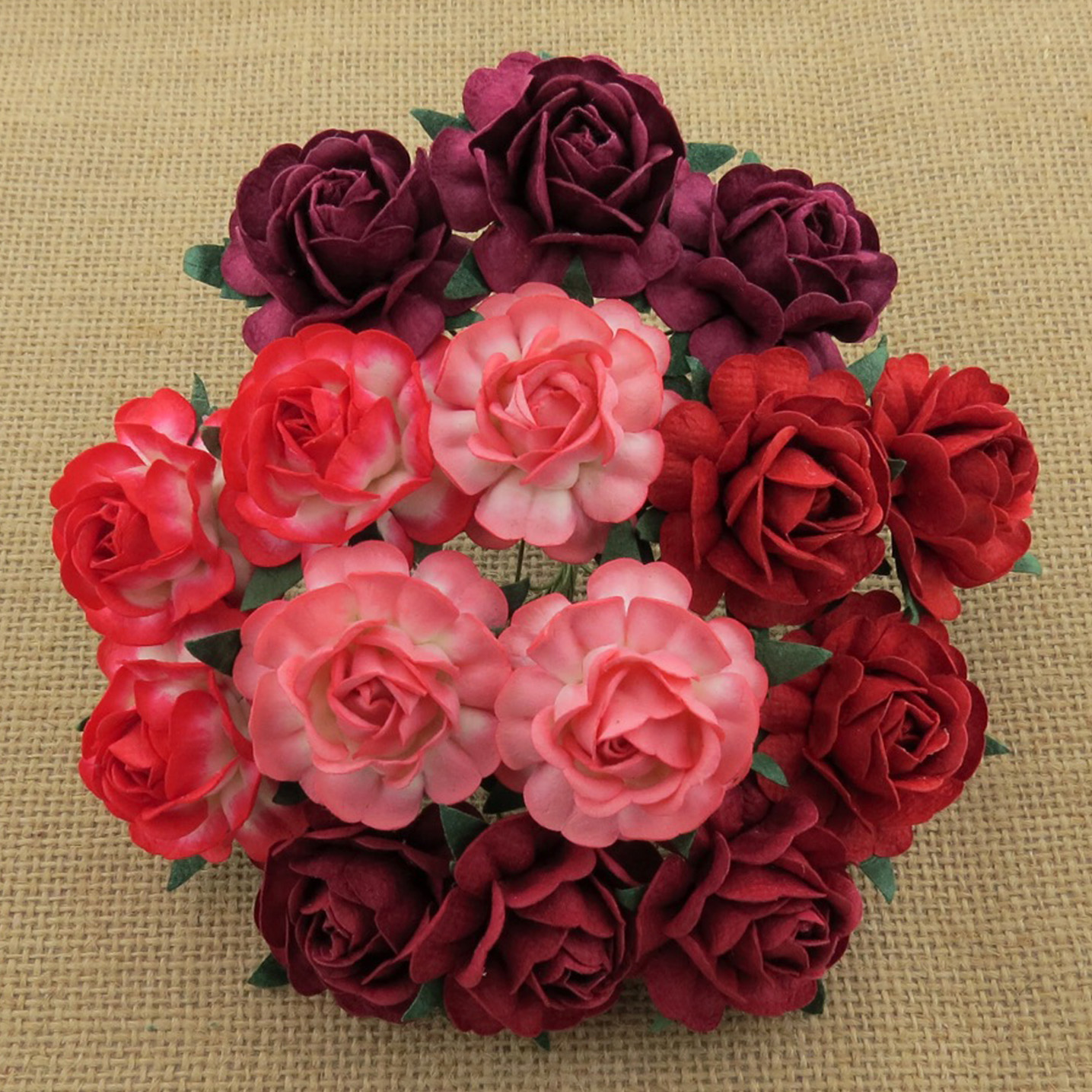 50 MIXED RED MULBERRY PAPER TEA ROSES 40mm - 5 COLOR