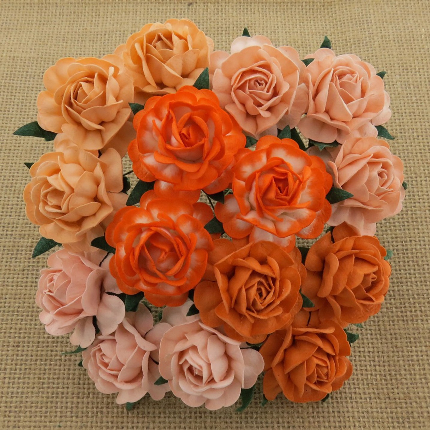50 MIXED PEACH/ORANGE MULBERRY PAPER TEA ROSES 40mm - 5 COLOR