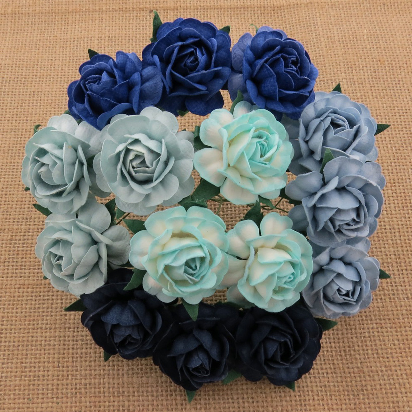 50 MIXED BLUE MULBERRY PAPER TEA ROSES 40mm - 5 COLOR