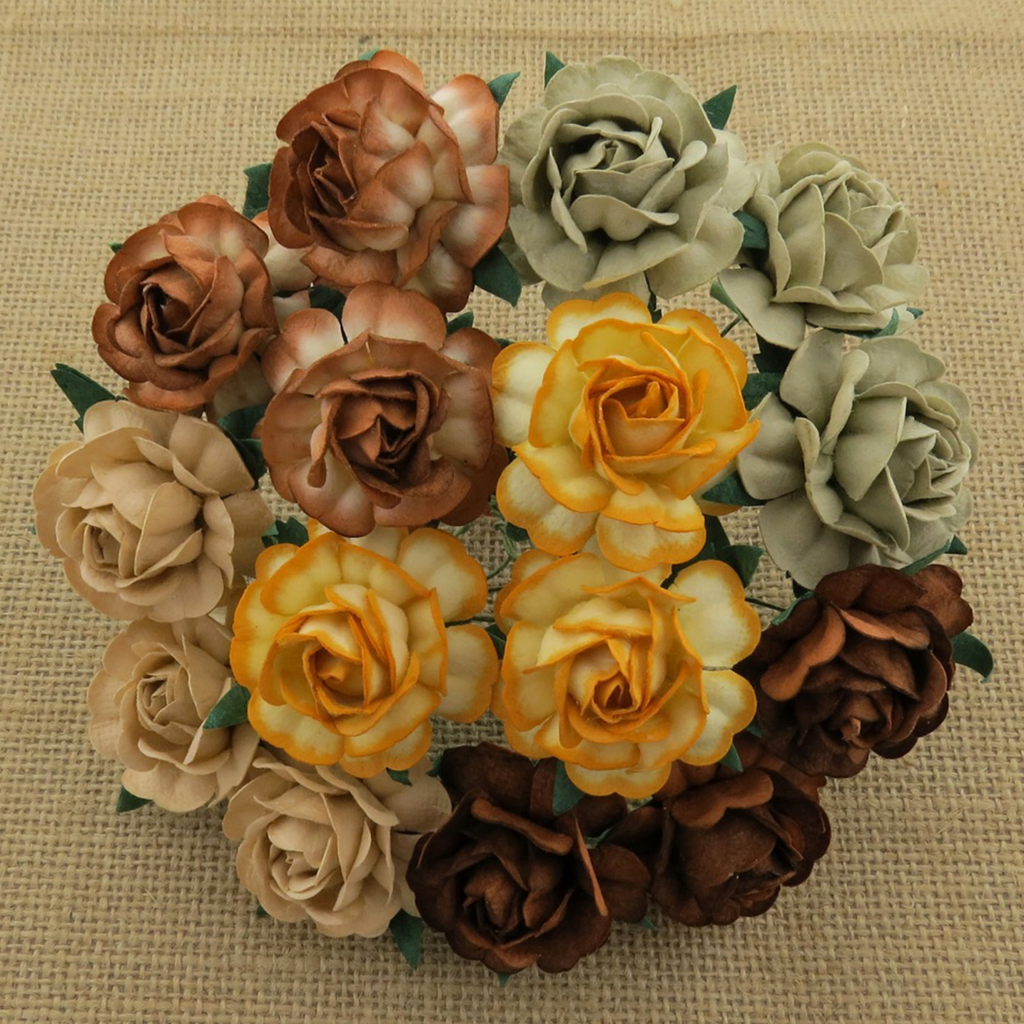 50 MIXED EARTH TONE MULBERRY PAPER TEA ROSES 40mm - 5 COLOR