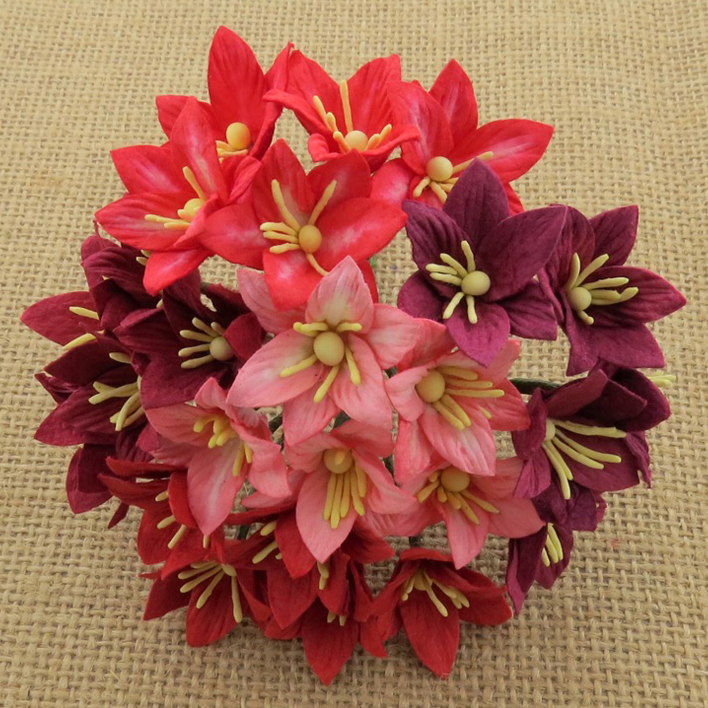 50 MIXED RED MULBERRY PAPER LILY FLOWERS - 5 COLOR