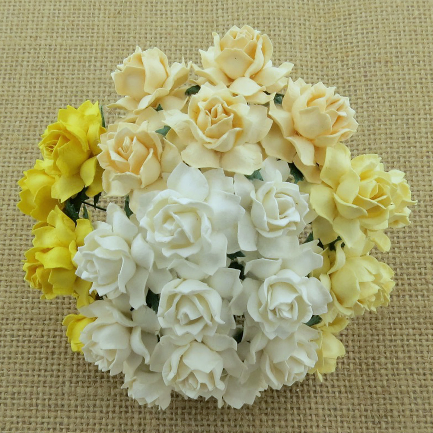 50 MIXED WHITE/CREAM MULBERRY PAPER COTTAGE ROSES - 5 COLOR