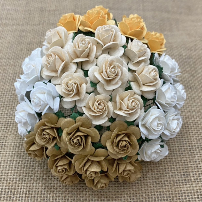 100 MIXED EARTH TONE MULBERRY PAPER OPEN ROSES