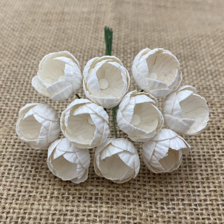 50 IVORY MULBERRY PAPER BUTTERCUPS