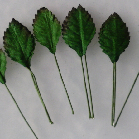 100 GREEN MULBERRY PAPER ROSE LEAVES - 25mm