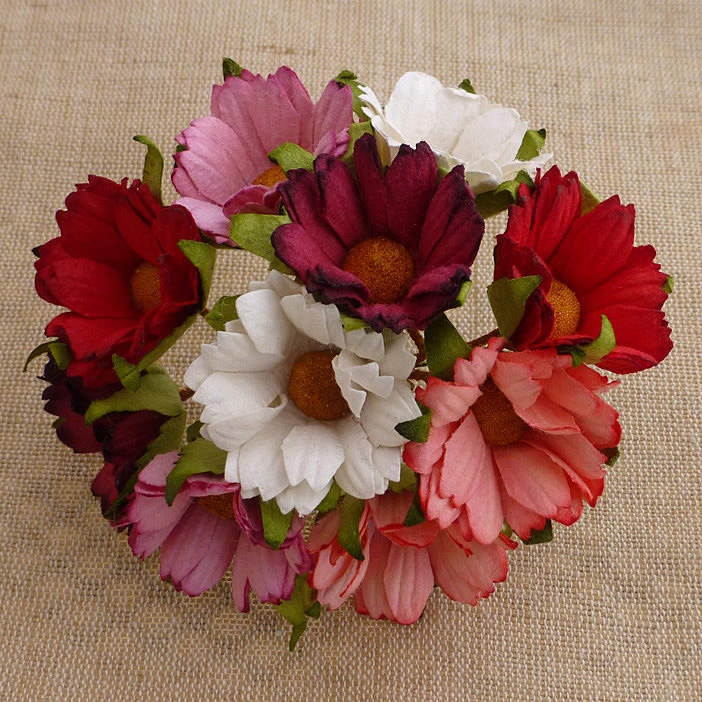 50 MIXED RED/PINK & WHITE MULBERRY PAPER CHRYSANTHEMUMS
