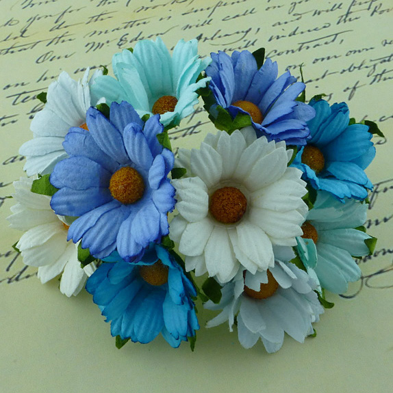 50 MIXED BLUE/AQUA/WHITE MULBERRY PAPER CHRYSANTHEMUMS