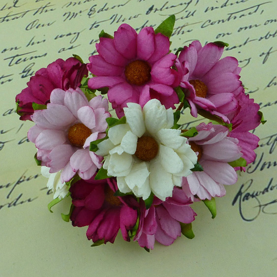 50 MIXED PINK/WHITE MULBERRY PAPER CHRYSANTHEMUMS