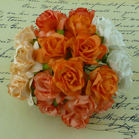 50 MIXED PEACH/ORANGE/WHITE MULBERRY PAPER WILD ROSES 30mm