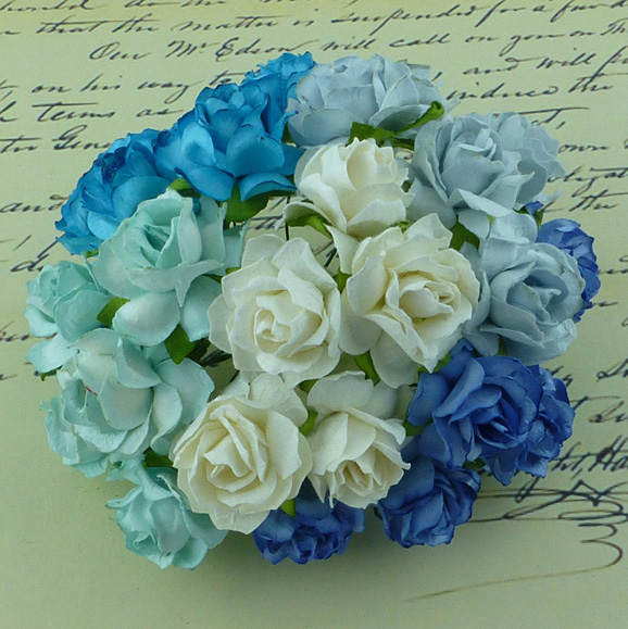50 MIXED BLUE/AQUA/WHITE MULBERRY PAPER WILD ROSES 30mm