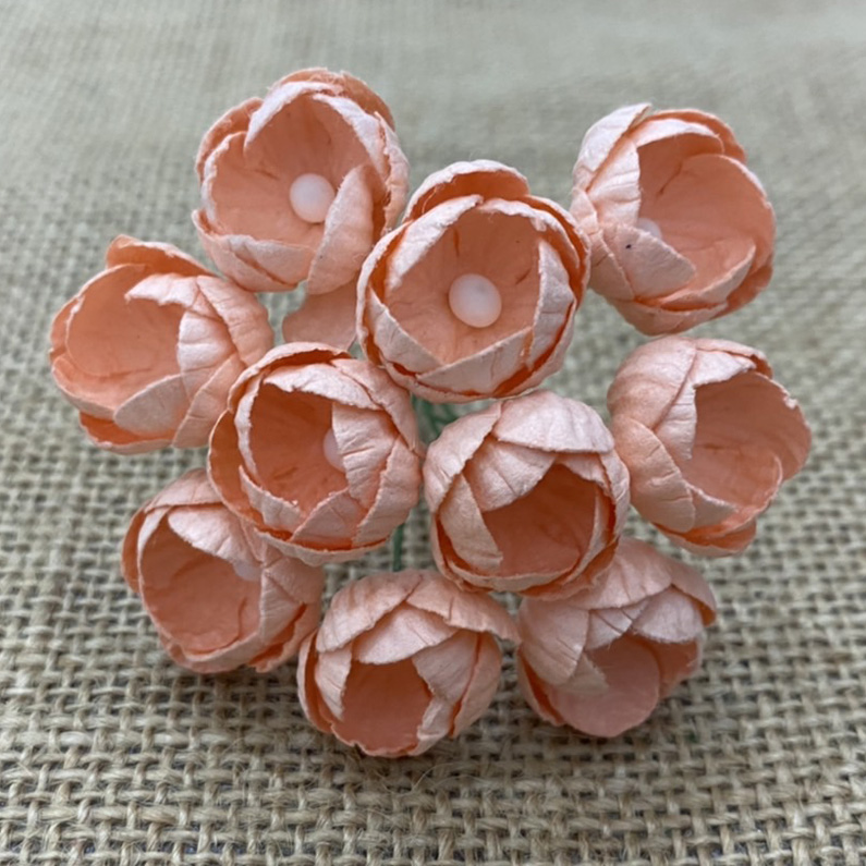 50 PEACH MULBERRY PAPER BUTTERCUPS