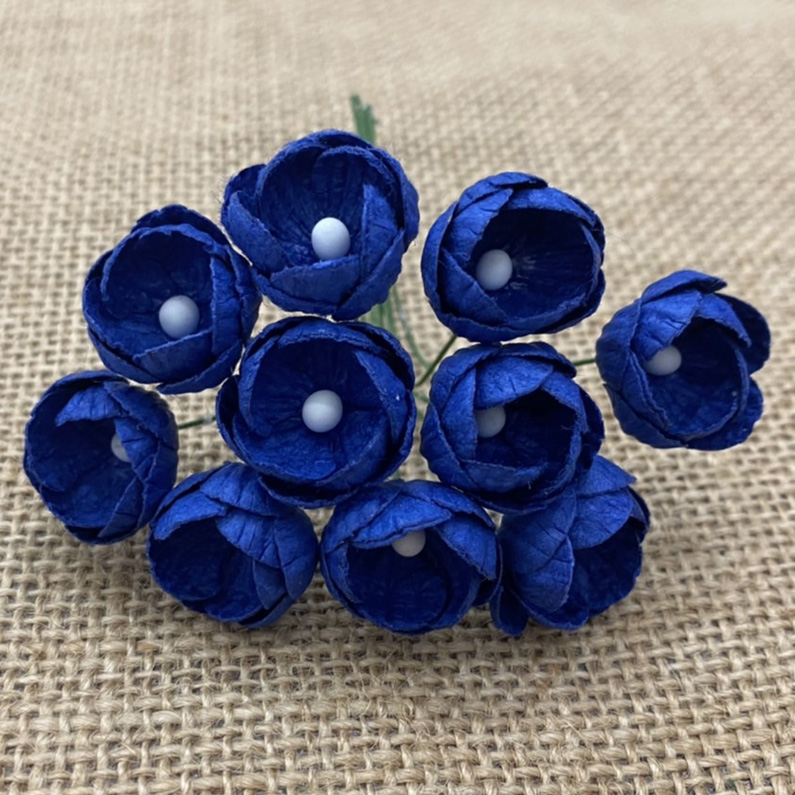 50 ROYAL BLUE MULBERRY PAPER BUTTERCUPS
