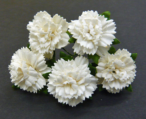 50 WHITE MULBERRY PAPER CARNATION FLOWERS