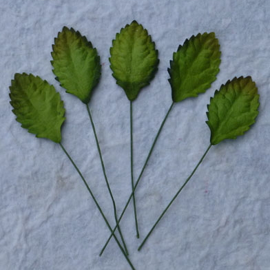 100 Green Mulberry Paper Leaves - 30mm
