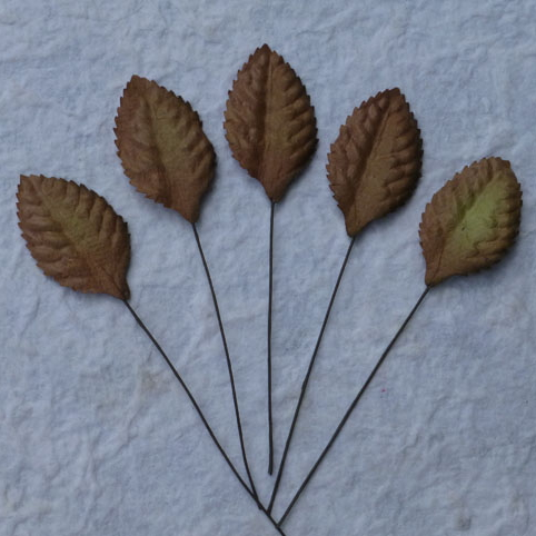 100 Brown Mulberry Paper Leaves - 35mm