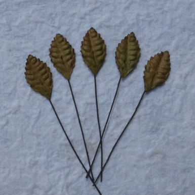 100 Brown Mulberry Paper Leaves - 25mm