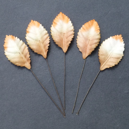 100 2-Tone White/Orange/Brown Mulberry Paper Leaves - 35mm