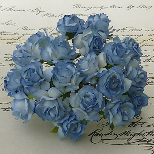 50 2-TONE BLUE MULBERRY PAPER WILD ROSES - 30mm