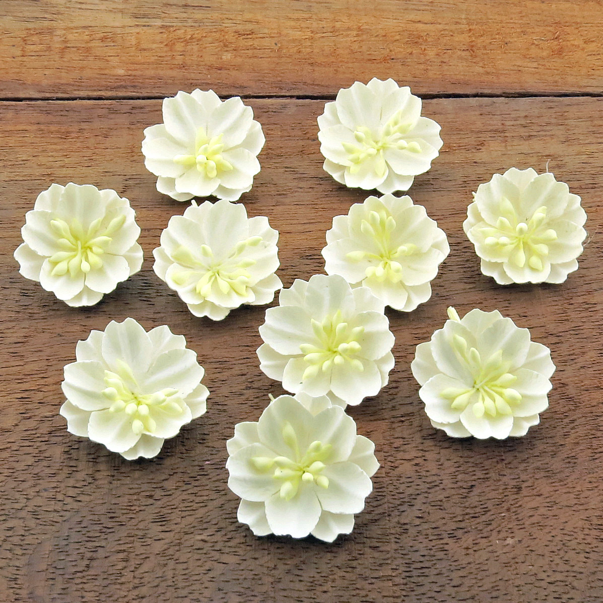 WHITE COTTON STEM MULBERRY PAPER FLOWERS - SET A