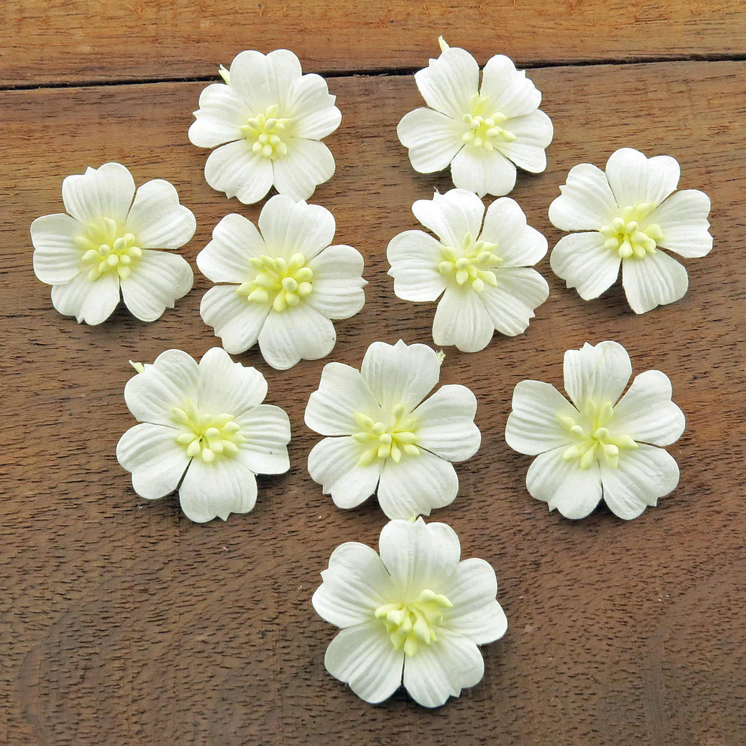 WHITE COTTON STEM MULBERRY PAPER FLOWERS - SET B