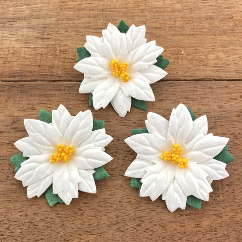 25 LARGE WHITE MULBERRY PAPER FLOWER POINSETTIAS - 50mm